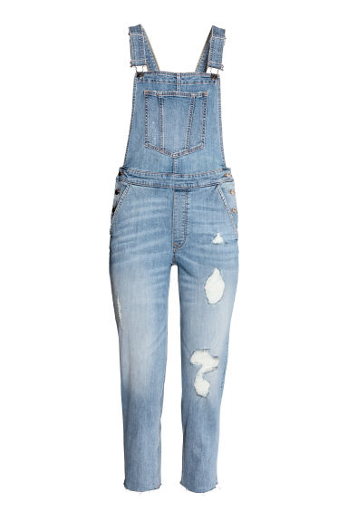 丹寧吊帶褲 - Light denim blue - Ladies | H&M 1